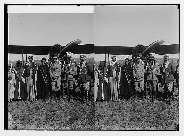 Sir Herbert Samuel's second visit to Transjordan, etc. Britishers, Bedouins and Circassians with airplane.