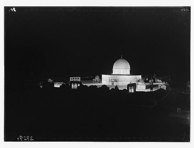 The Temple area. Dome of the Rock. Illuminated by flood-lights during Bayram feast.
