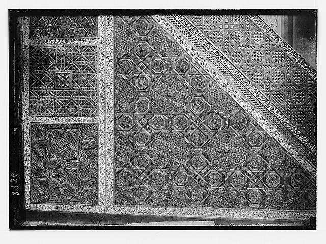 The Temple area. Mosque el Aksa [i.e., al-Aqsa], int[erior]. Details of pulpit. Section of side panels.
