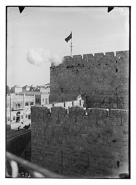 Around the city wall [Jerusalem]. David's tower. Firing Ramadan cannon during Turkish period