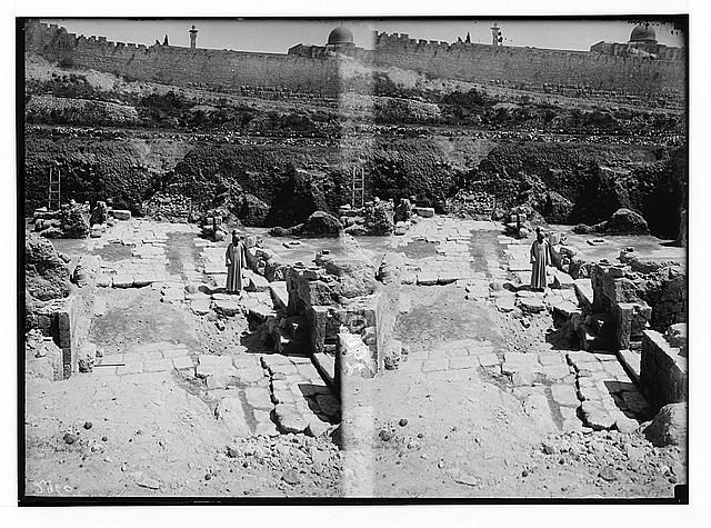 Valleys of Jehoshaphat and Hinnom. Excavations on Ophel. Showing ancient pavement.
