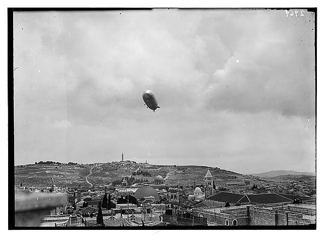 Mount of Olives and Gethsemane. Jerusalem and Olivet. The Graff  Zepelin [i.e., Graf Zepelin] over the old city, April 26th [i.e., 11th] 1931. Day of Greek holy fire