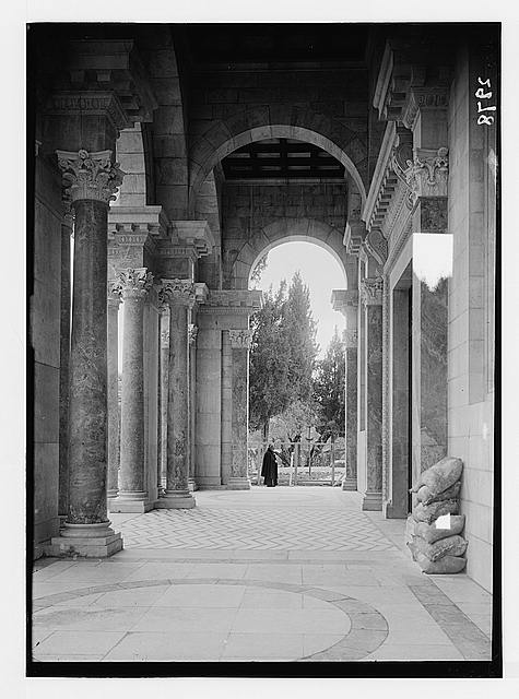 The Basilica of Gethsemane [i.e., Church of All Nations or Church of the Agony]. The portico, looking into the garden.