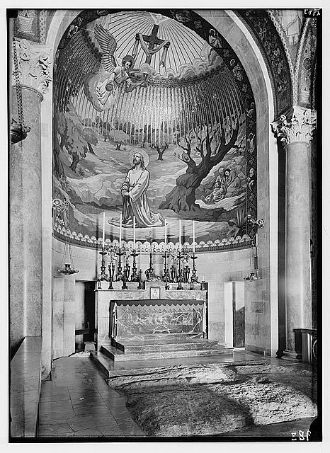"The Basilica of Gethsemane [i.e., Church of All Nations or Church of the Agony]. Int[erior], altar on ""Rock of Agony""."