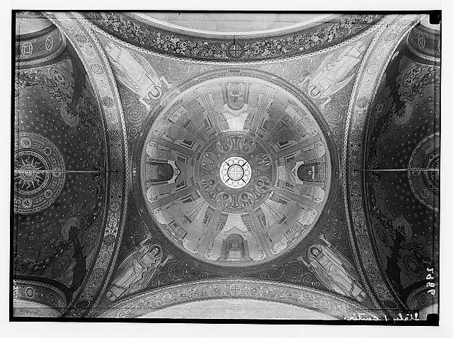 12 mosaic domes of basilica [i.e., Church of All Nations or Church of the Agony] given by various countries. Int[erior] of basilica dome given by Italy