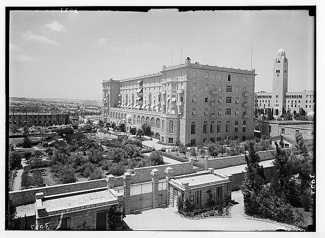 Newer Jerusalem and suburbs. King David Hotel. East façade & garden.