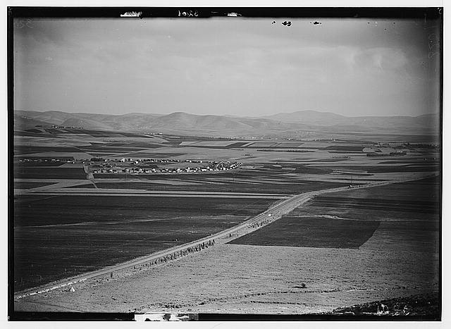 "The Keren Hayesod. Agricultural colonies on Plain of Esdraelon. ""The Emek."" Plain of Esdraelon. A center of Zionist agricultural activities. Tel Adis."
