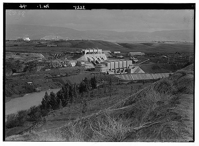The Palestine Electric Corporation power plant. Gen[eral] view with workers' homes in the distance.