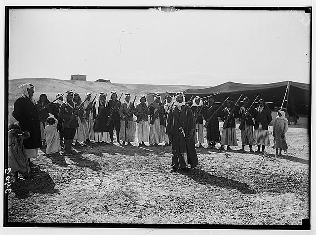 El-Azrak & Wadi Sirhan in the Arabian desert. Druse [i.e., Druze] political refugees from Jebel Druse (The Hauran). Sheikh Sultan el-Atrash and warriors