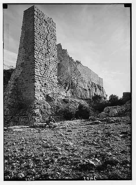 Ajlun district. Kalaat Er-Rabad. Showing N.W. tower and rock-cut moat