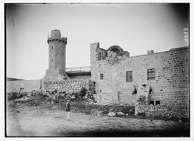 Palestine events. The earthquake of July 11, 1927. Partial collapse of mosque and minaret on Olivet