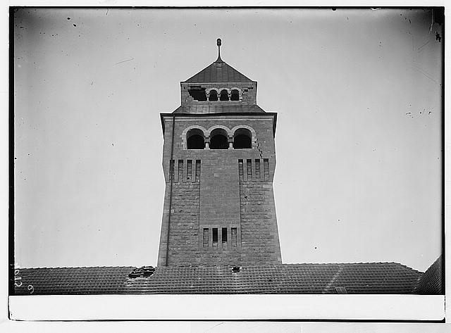 Palestine events. The earthquake of July 11, 1927. Damaged tower of Augusta Victoria Stiftung. On Olivet