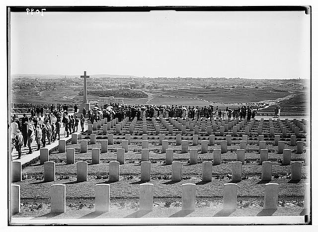 War graves on Mt. Scopus, Jerusalem in distance.