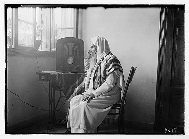 Radio listening in by Yemenite rabbi. Profile