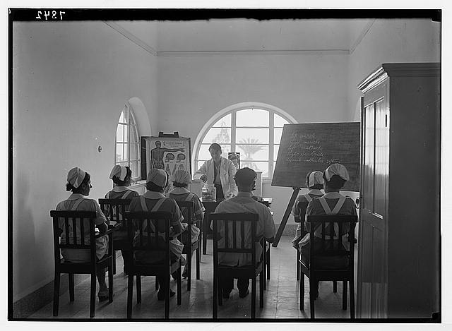 Scots Mission Hospital, Tiberias. Hospital nurses in class instructed by Dr. Little.