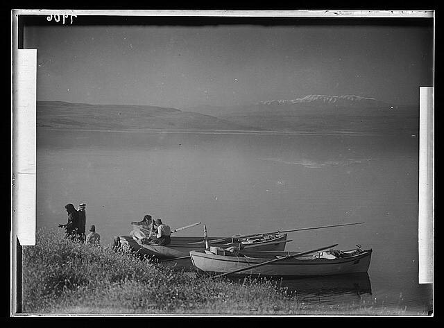 "Mount Hermon & Sea of Galilee & fishermen in foreground. ""Peace"""