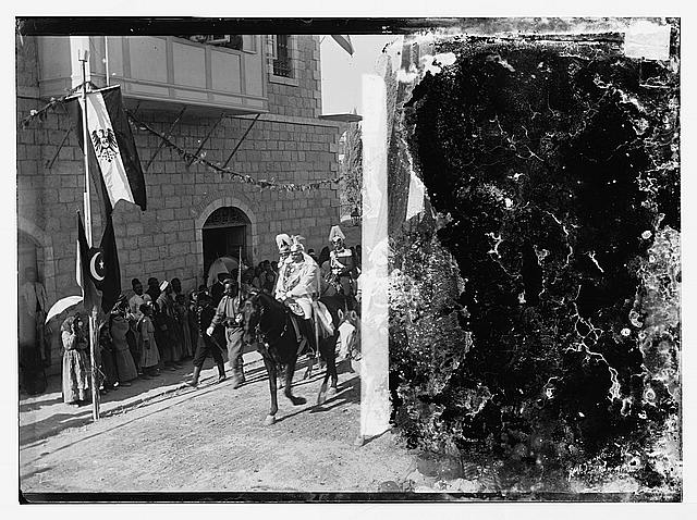 State visit to Jerusalem of Wilhelm II of Germany in 1898. Emperor in street procession.