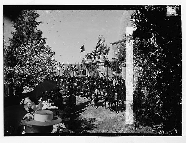 State visit to Jerusalem of Wilhelm II of Germany in 1898. General view of street procession.