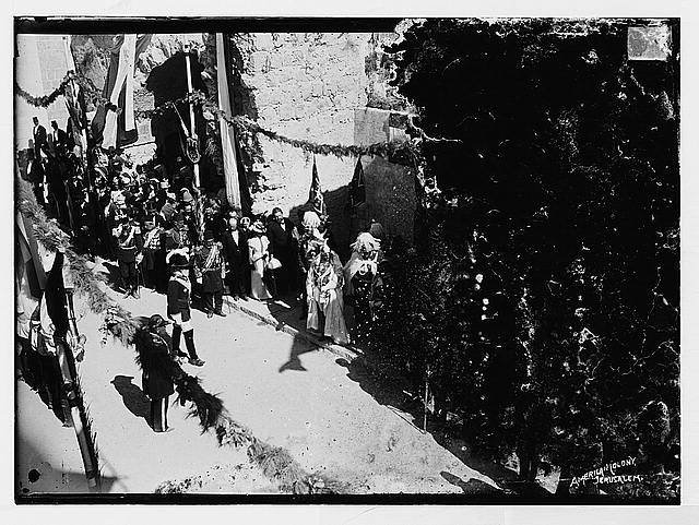 State visit to Jerusalem of Wilhelm II of Germany in 1898. Emperor and Empress walking in street procession.