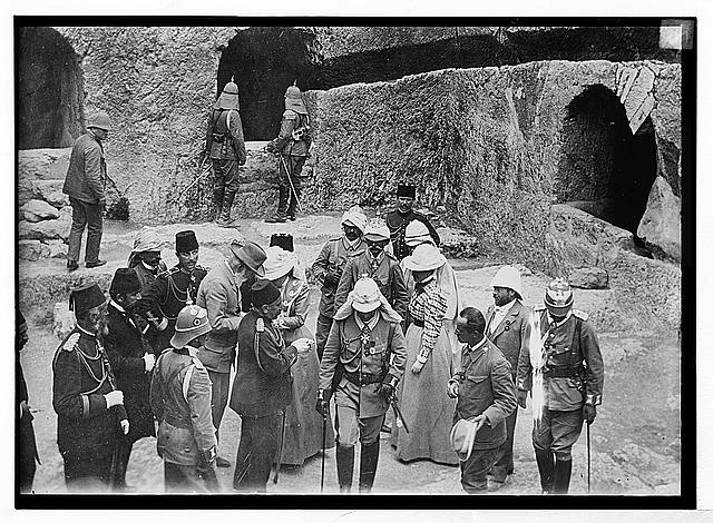 State visit to Jerusalem of Wilhelm II of Germany in 1898. Close-up of royal party at Tomb of Kings.