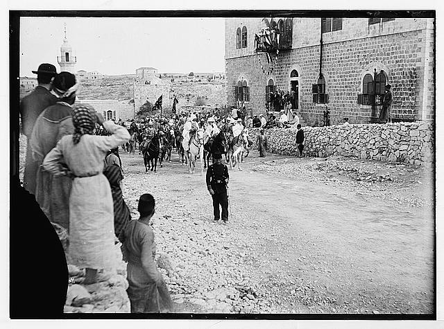 State visit to Jerusalem of Wilhelm II of Germany in 1898. Royal party entering Jerusalem from north, passing American Colony building.
