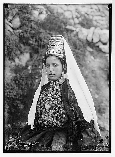 Married woman from Bethlehem wearing hat and veil
