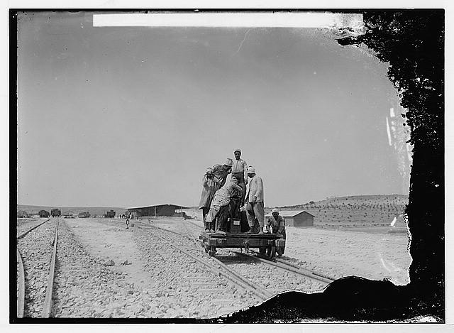 German Baghdad Railway, 190_. Taking food to workmen by handcar E. of Aleppo (railyard)