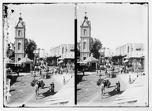 [Street scene in Jaffa near the clock tower]