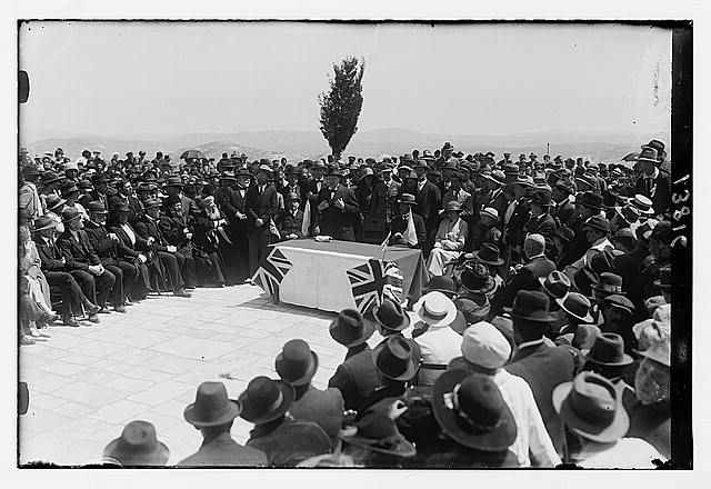 [Winston Churchill speaking at tree planting ceremony on the site of Hebrew University, Mount Scopus, Jerusalem, Mar. 28th, 1921]