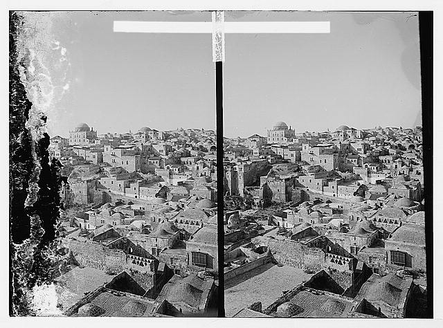 [View of Old City from Temple Mount with Jewish Quarter in distance]