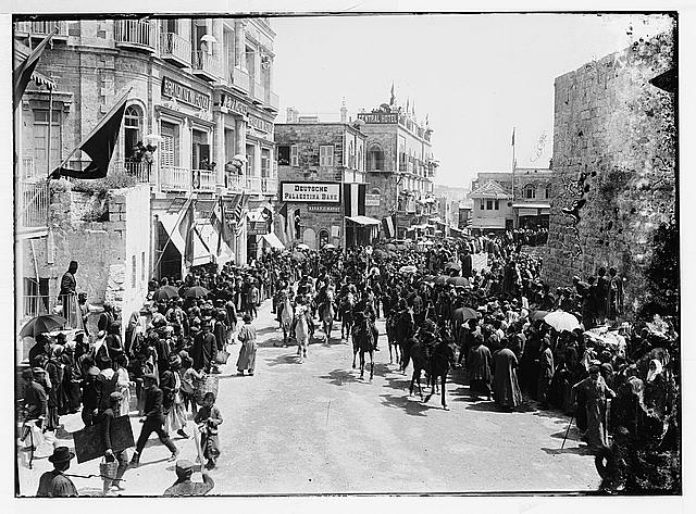 Turkish troops on David Street, 1898 [Jerusalem].
