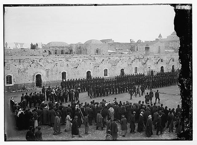 Turk. [i.e., Turkish] troops & band on parade ground.