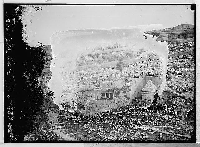 Jewish gathering at Tomb of Zacharieh, Kebron [i.e., Kidron] Valley