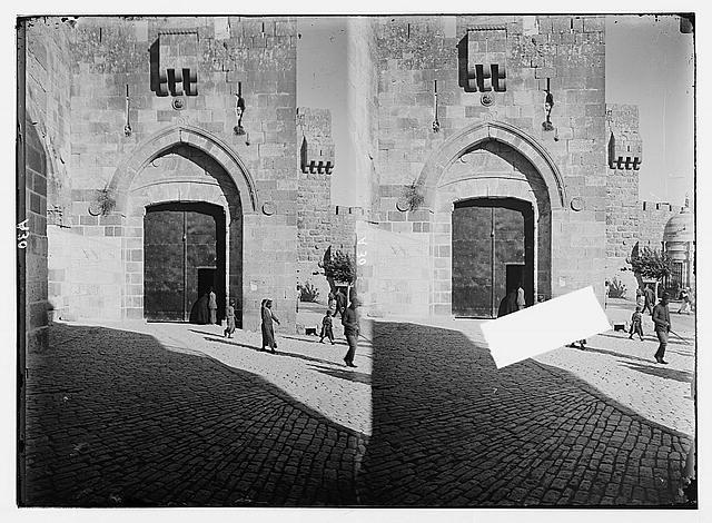 "Jerusalem (El-Kouds), approach to the city. Jaffa Gate closed, showing ""Needle's Eye"""