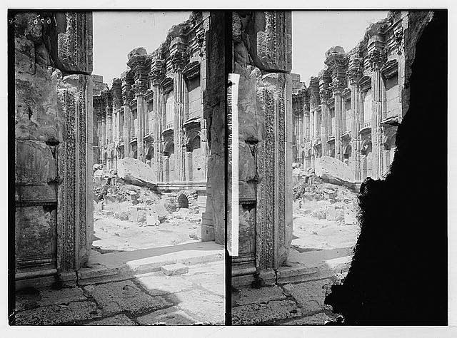Baalbek. Looking into the Temple of Bacchus showing doorway