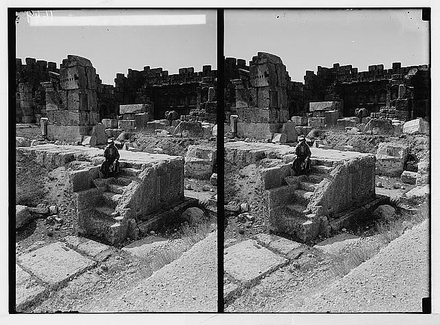 Baalbek. Temple of the sun. Near view of altar showing the steps