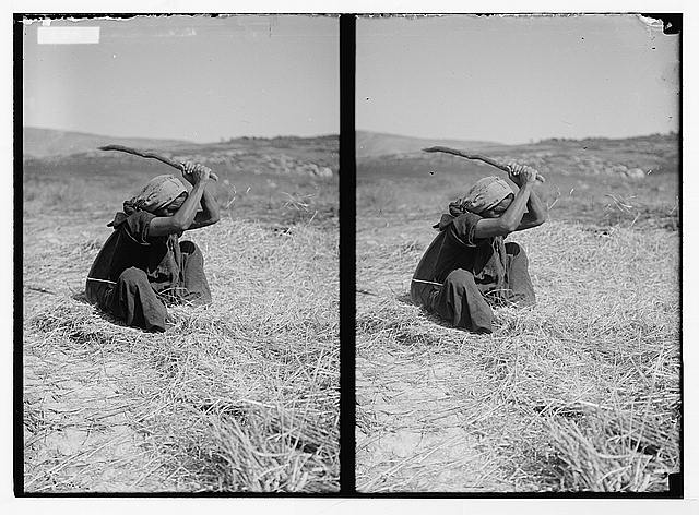Costumes, characters, etc. Woman threshing with flail