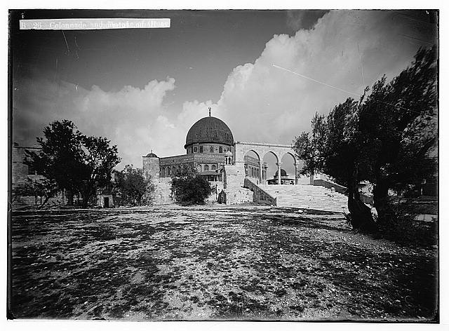 Temple area, Mosque of Omar [i.e., Dome of the Rock], etc. Colonnade and Mosque of Omar.