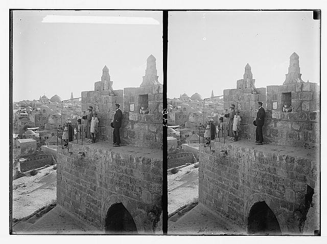 The rampart walk, on city wall. Jerusalem from the wall near Damascus Gate.