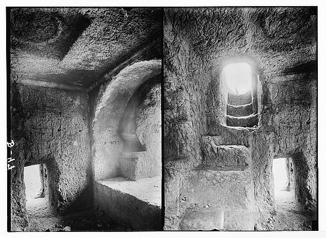 Valleys of Jehoshaphat and Hinnom [Jerusalem]. Stairway in Absalom's Pillar; [Another view inside Absalom's Pillar].