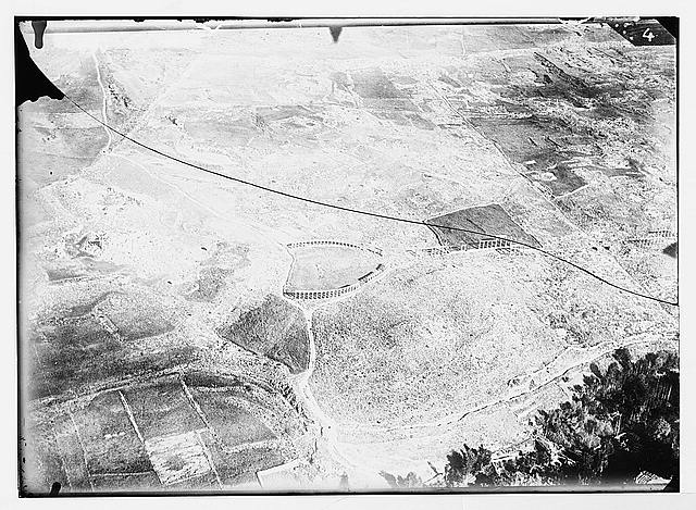 Series of first aerial photographs of Palestine and Syria. Ruins of Jerash.