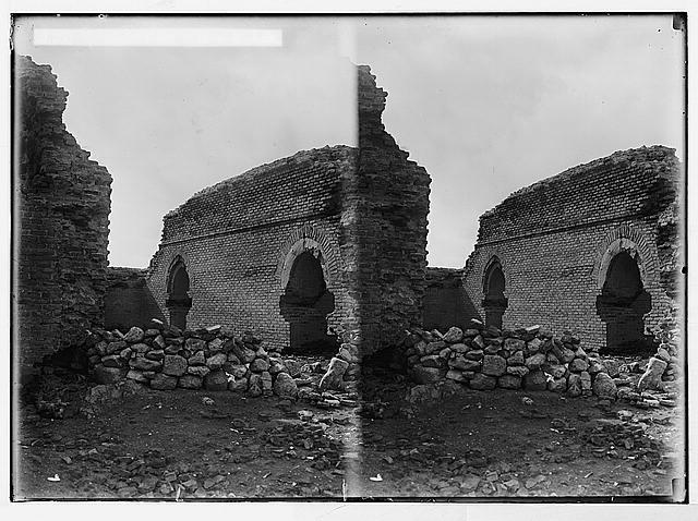 East of the Jordan and Dead Sea. Details of brick wall of Mashita [i.e., Mshatta]