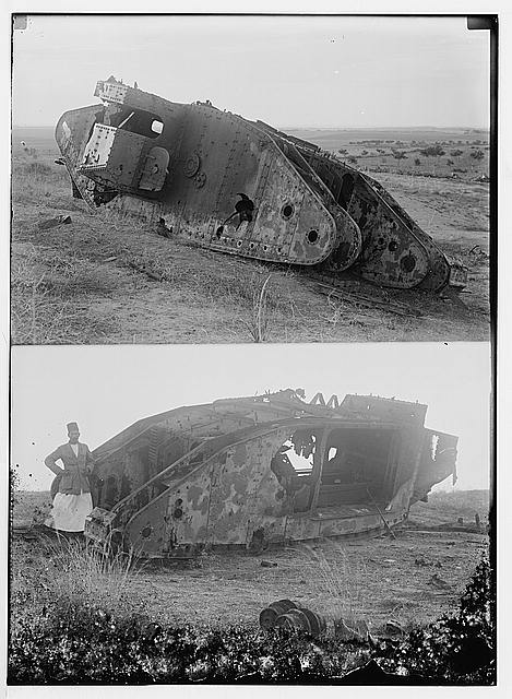 Various results of the war. Disabled tank at Gaza; [Another view of disabled tank at Gaza].