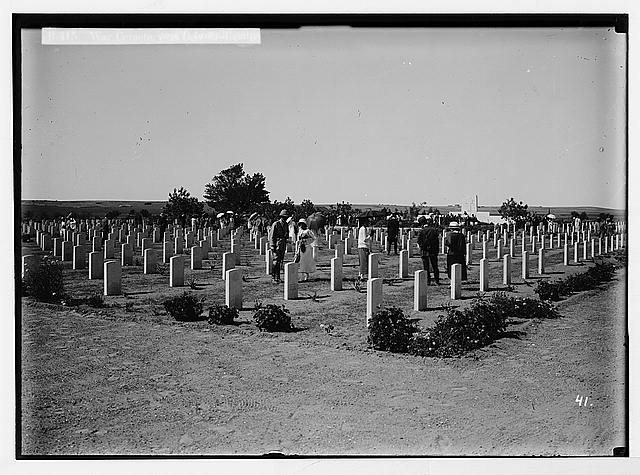 Various results of the war. War cemetery at Deir el-Belah.
