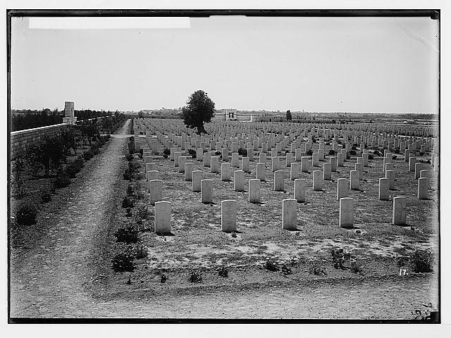 Various results of the war. War cemetery at Gaza, new view.
