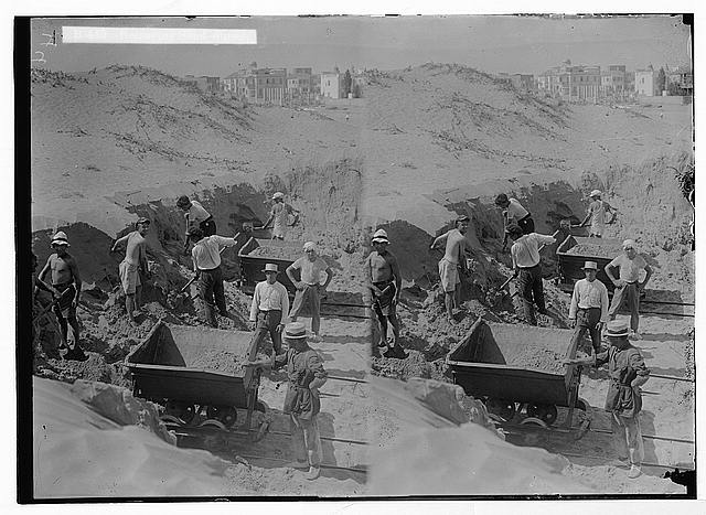 Jewish colonies and settlements. Tel Aviv. Removing sand-dunes