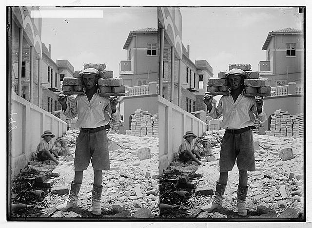 Jewish colonies and settlements. Tel Aviv. Carrying bricks