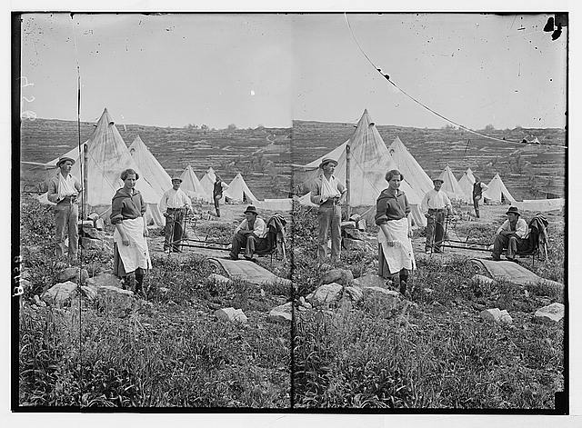 Jewish colonies and settlements. Commencing a Jewish settlement; a camp. Settlers first home -- tents