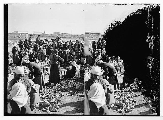[Crowd of men and women getting water from spigots, possibly at the Jerusalem Waterworks at Ain Arroub]