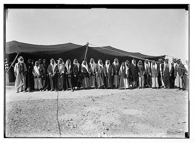 El-Azrak & Wadi Sirhan in the Arabian desert. Druse [i.e., Druze] political refugees from Jebel Druse (The Hauran). Druse refugees, Wady Sirhan. Chiefs who revolted against French rule in Syria